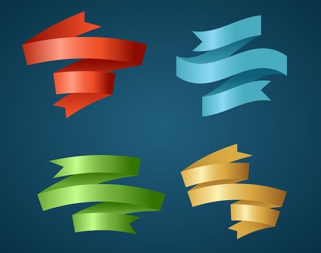 제목, 판촉 제품 디자인, 제목 또는 판촉 정보를 강조하는 데 사용하는 다채로운 리본. 배너, 리본