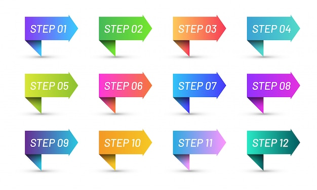 Colorful ribbons bullet points set. bright gradient arrow icon set of step 1 to 12