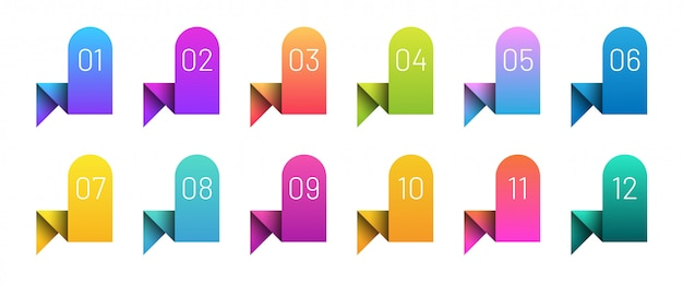 Colorful ribbons bullet points set. bright gradient icon set number 1 to 12