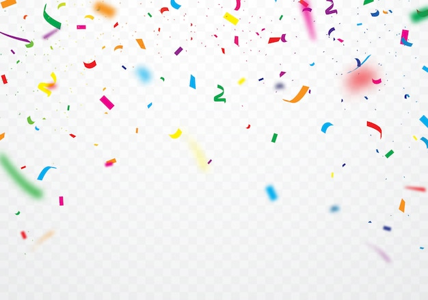 Colorful ribbons and confetti can be separated from a transparent background