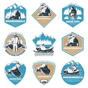 Colorful riding tour logos set