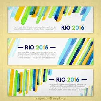 Colorful rio 2016 banners