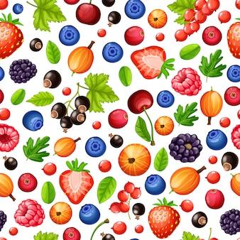 Modello senza cuciture di frutti di bosco maturi colorati