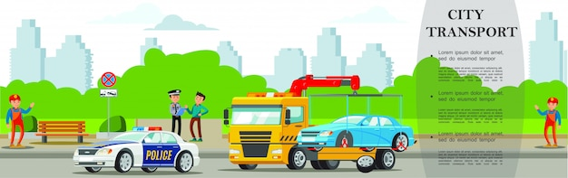 Colorful road assistance service banner with tow truck evacuating automobile in flat style