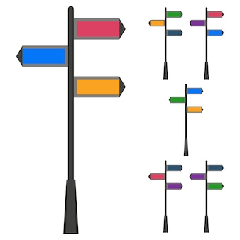 Colorful road direction sign