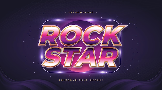 Colorful rock star text in retro style with glitter and glowing effect. editable text style effect