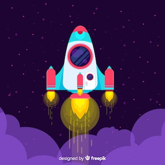 Colorful rocket composition with flat design