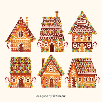 Colorful roof gingerbread house collection
