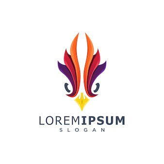 Colorful rooster head logo