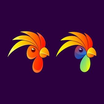 Colorful rooster illustration design