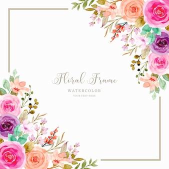 수채화와 화려한 장미 꽃 프레임