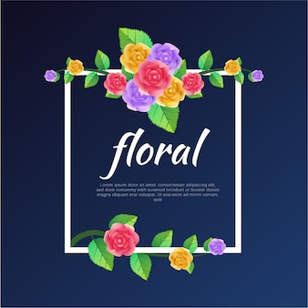 Colorful Rose flowers Vector Background Template