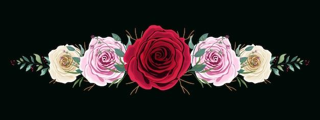 화려한 장미 꽃 세트