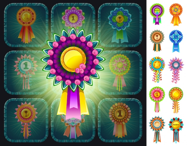 Colorful rosettes prizes with illumination.