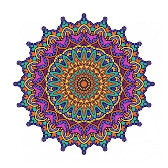マンダラスタイルのカラフルな丸い抽象的な円