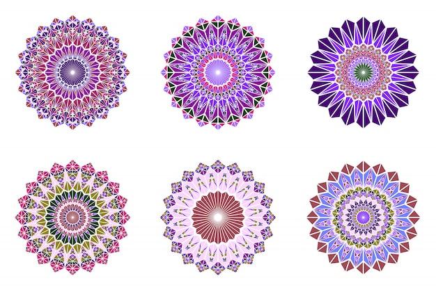 Colorful round abstract ornate triangle mandala logo set