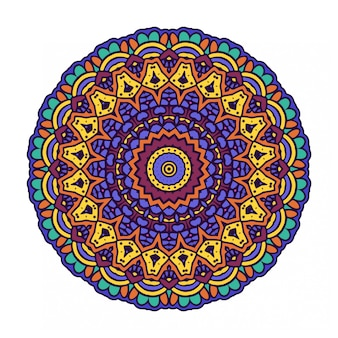 エスニックスタイルのカラフルな丸い円曼荼羅