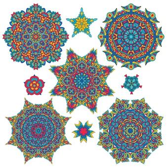 다채로운 라운드 민족 만다라, 장식적인 디자인 요소 집합