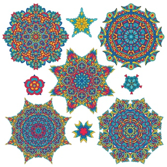 Colorful round ethnic mandala,  set of ornamental design elements