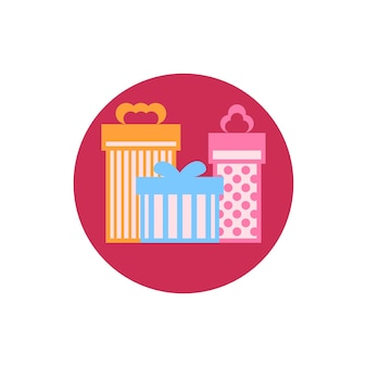 Colorful round  icon gift boxes,  vector illustration