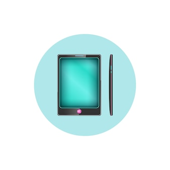 Colorful round icon phone, gadget icon,  vector illustration