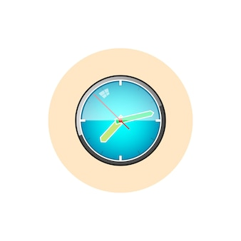 Colorful round icon watch , wall clock icon, vector illustration