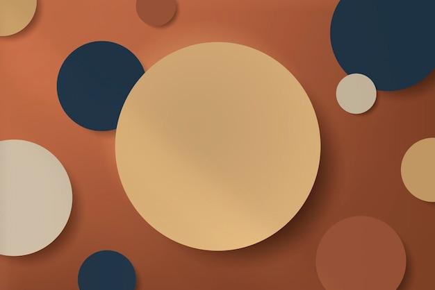 オレンジ色の背景にドロップシャドウでカットされたカラフルな丸い紙