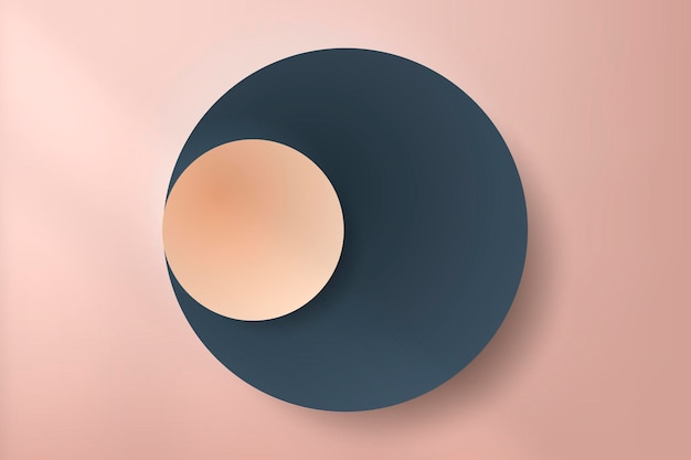 Colorful round paper cut with drop shadow on pale pink background
