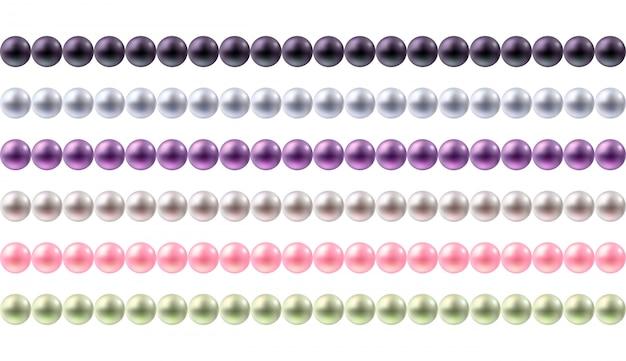 Набор границ красочные круглые жемчуг. бесшовные горизонтальные границы для.