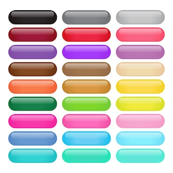 Colorful Round Rectangle Glossy Buttons