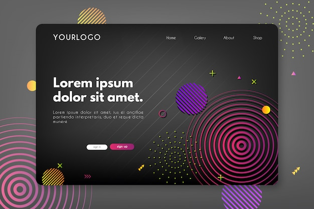 Colorful rounded landing page on black