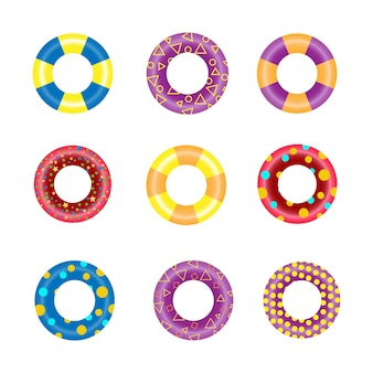 Colorful rubber swim rings set for water floating. swimming circle lifesaver collection for child safe