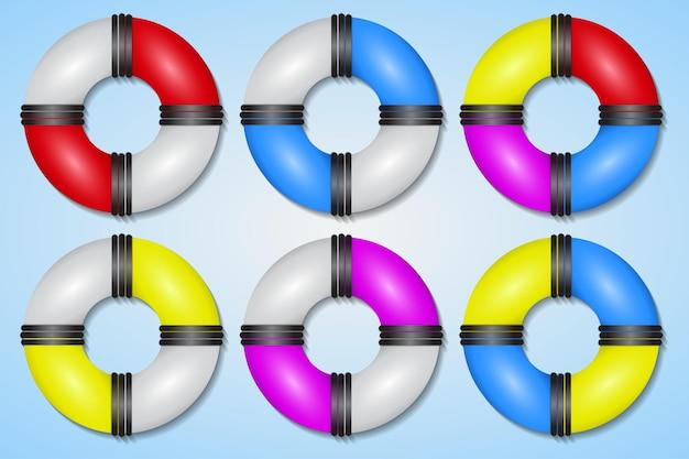 다채로운 고무 수영 반지 번들 컬렉션