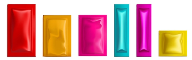 Colorful sachet pouch bags vector mockup wet wipes condom salt sugar or candy packs isolated blank p...