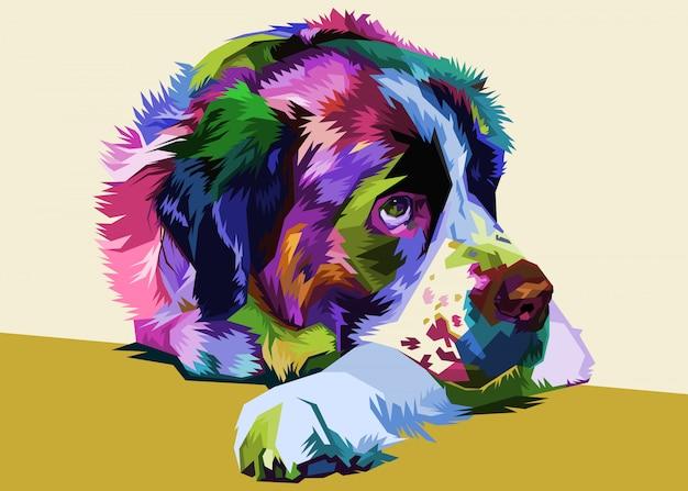 ポップなアートスタイルでカラフルなセントバーナード犬。ベクトルイラスト。