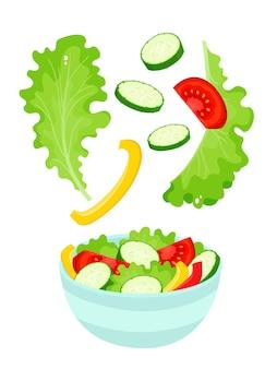 カラフルなサラダボウル。分離された漫画の有機野菜とサラダ
