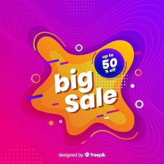 Colorful sale background liquid style