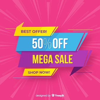 Colorful sale background origami style