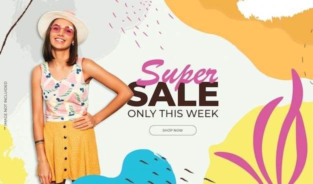 Colorful sale background with memphis style