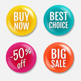 Colorful sale badge isolated on transparent