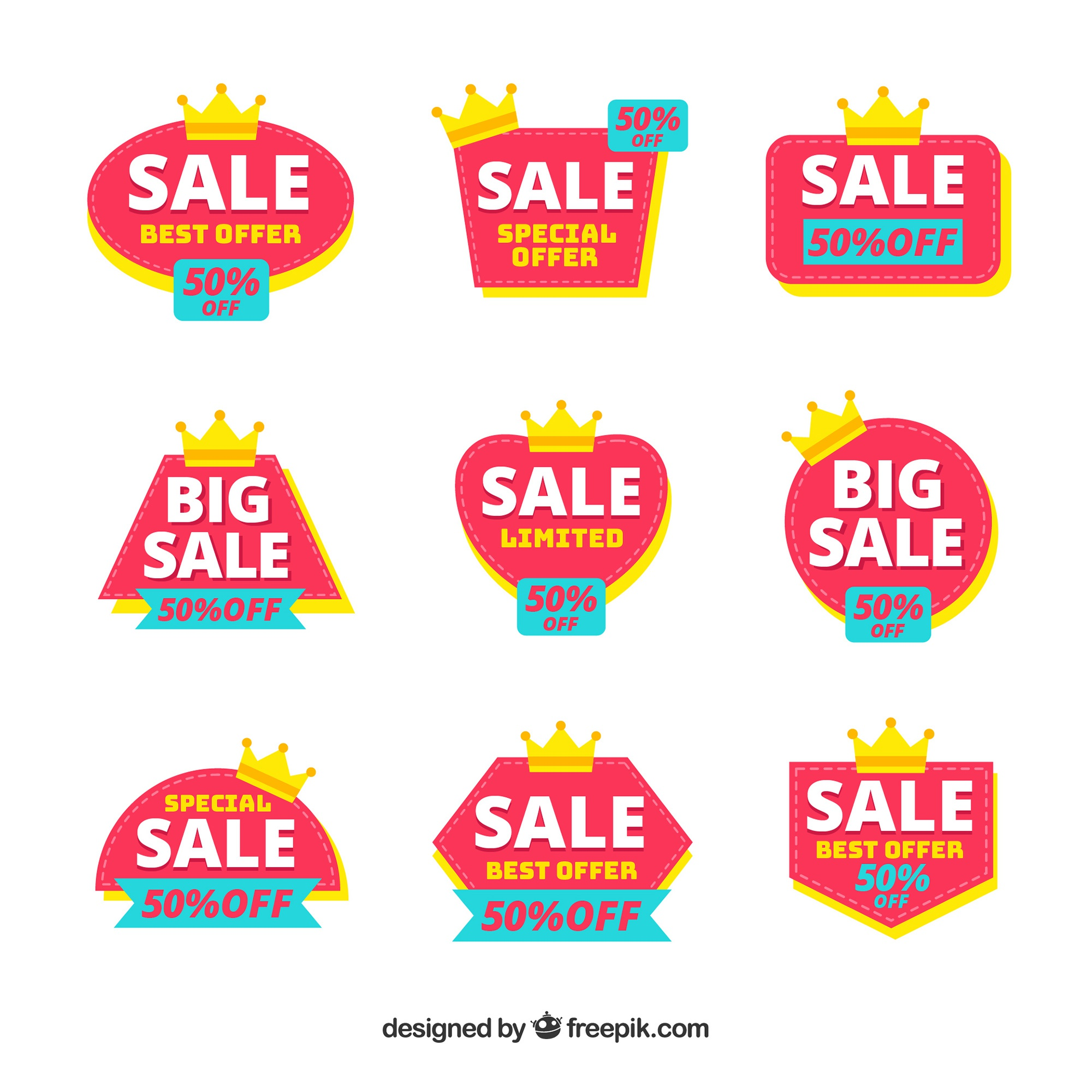 Colorful sale badges with crowns