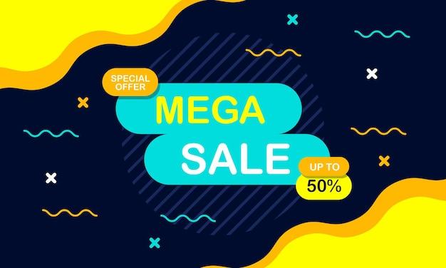Colorful sale banner background with wave shape vector illustration
