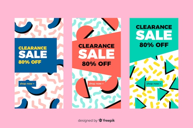Colorful sale banner collection in memphis style