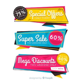 Colorful sale banner origami style