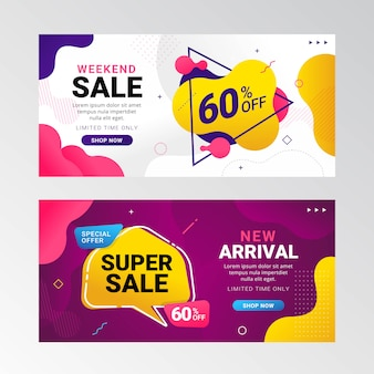 Colorful sale banner promotion with fluid gradient