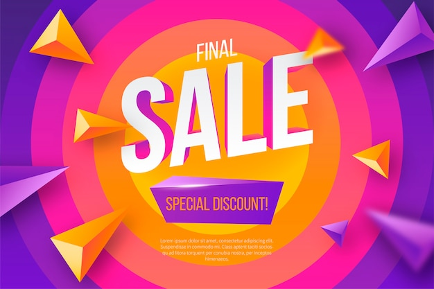 Colorful sale banner with geometric shapes