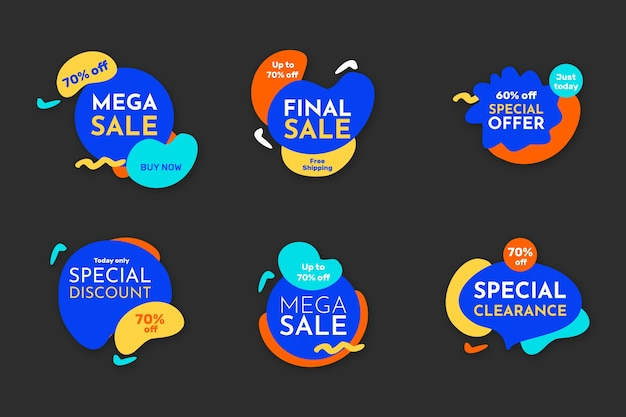 Colorful sale banners collection template