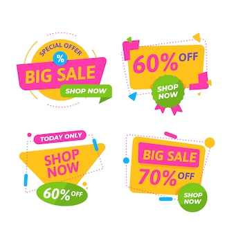Colorful sale banners collection theme