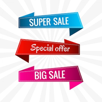 Colorful sale banners and ribbons set vector illustration