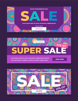 Colorful sale banners template